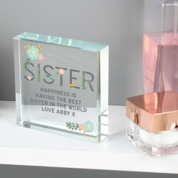 Personalised Floral Sister Large Crystal Token