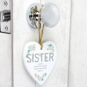 Personalised Sister Floral Wooden Heart Decoration
