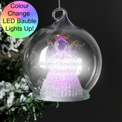 Personalised Christmas Message LED Angel Bauble