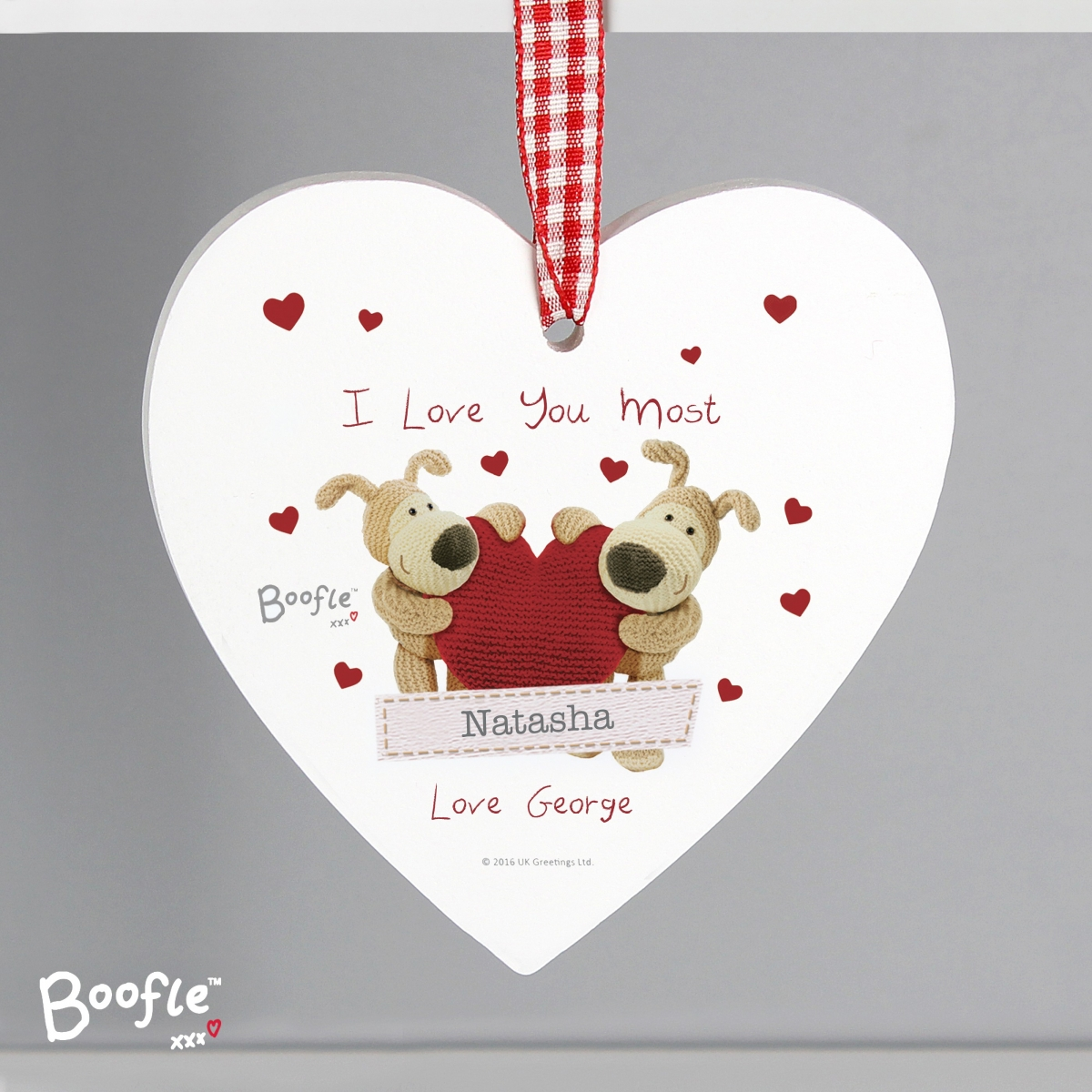 Personalised Boofle Shared Heart Wooden Heart Decoration