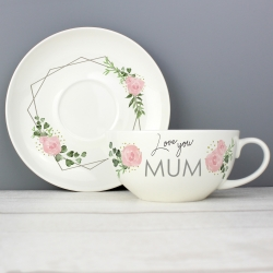 Personalised Abstract Rose Teacup & Saucer