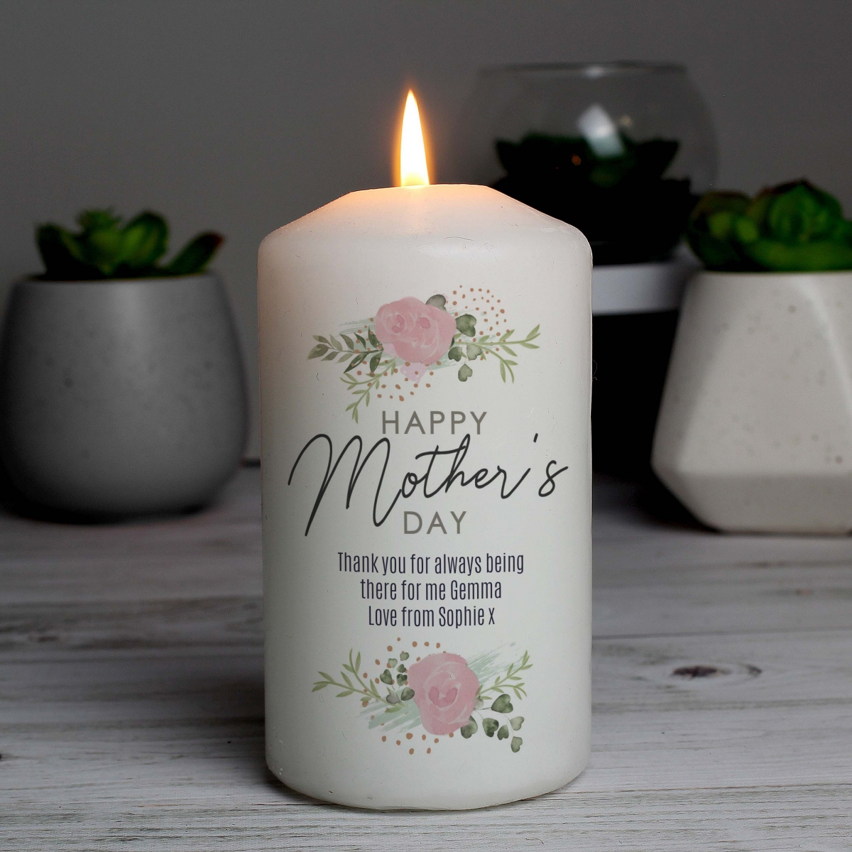 Personalised Abstract Rose Candle