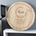 Personalised Mum Round Wooden Chopping Board