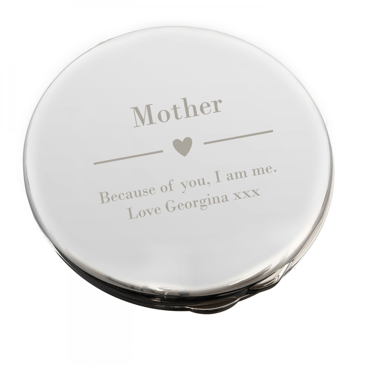 Personalised Decorative Heart Compact Mirror