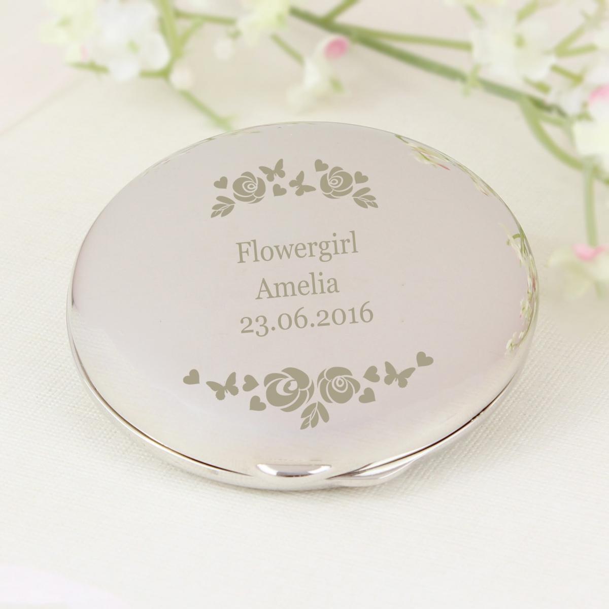 Personalised Vintage Rose Compact Mirror