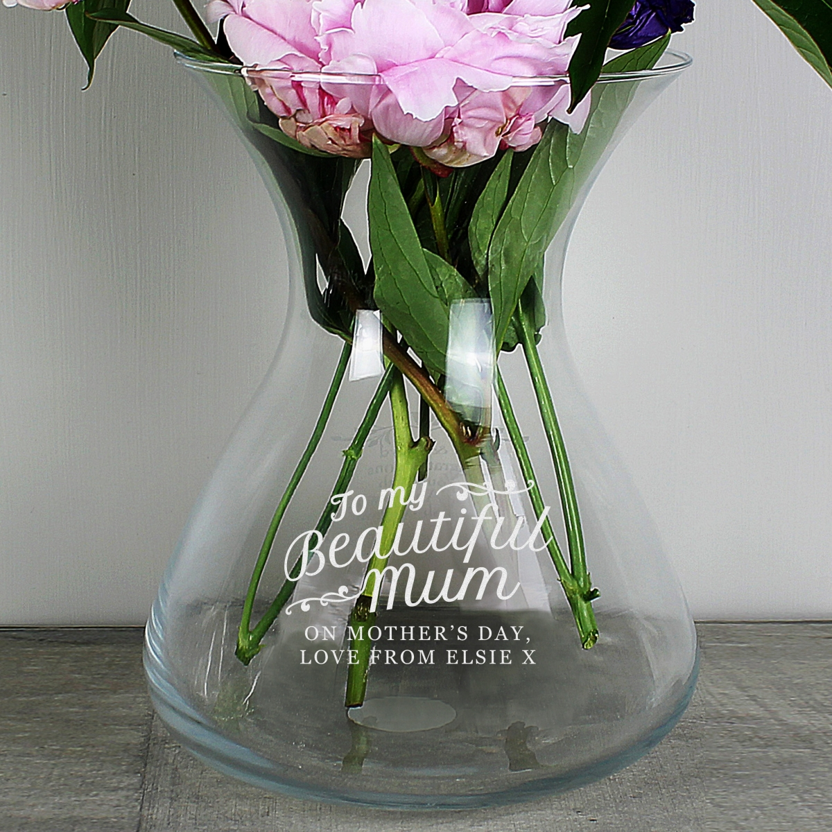 Personalised 'Beautiful Mum' 22cm Glass Vase