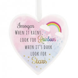 Personalised Rainbows and Stars 22cm Large Wooden Heart Decoration