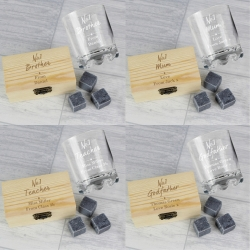 Personalised 'No.1' Whisky Stones & Glass Set
