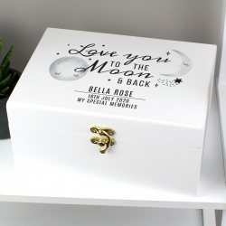Personalised Baby 'To The Moon and Back' White Wooden Keepsake Box