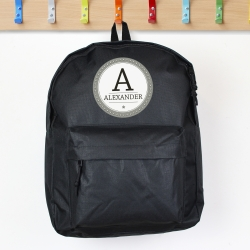 Personalised Black Backpack