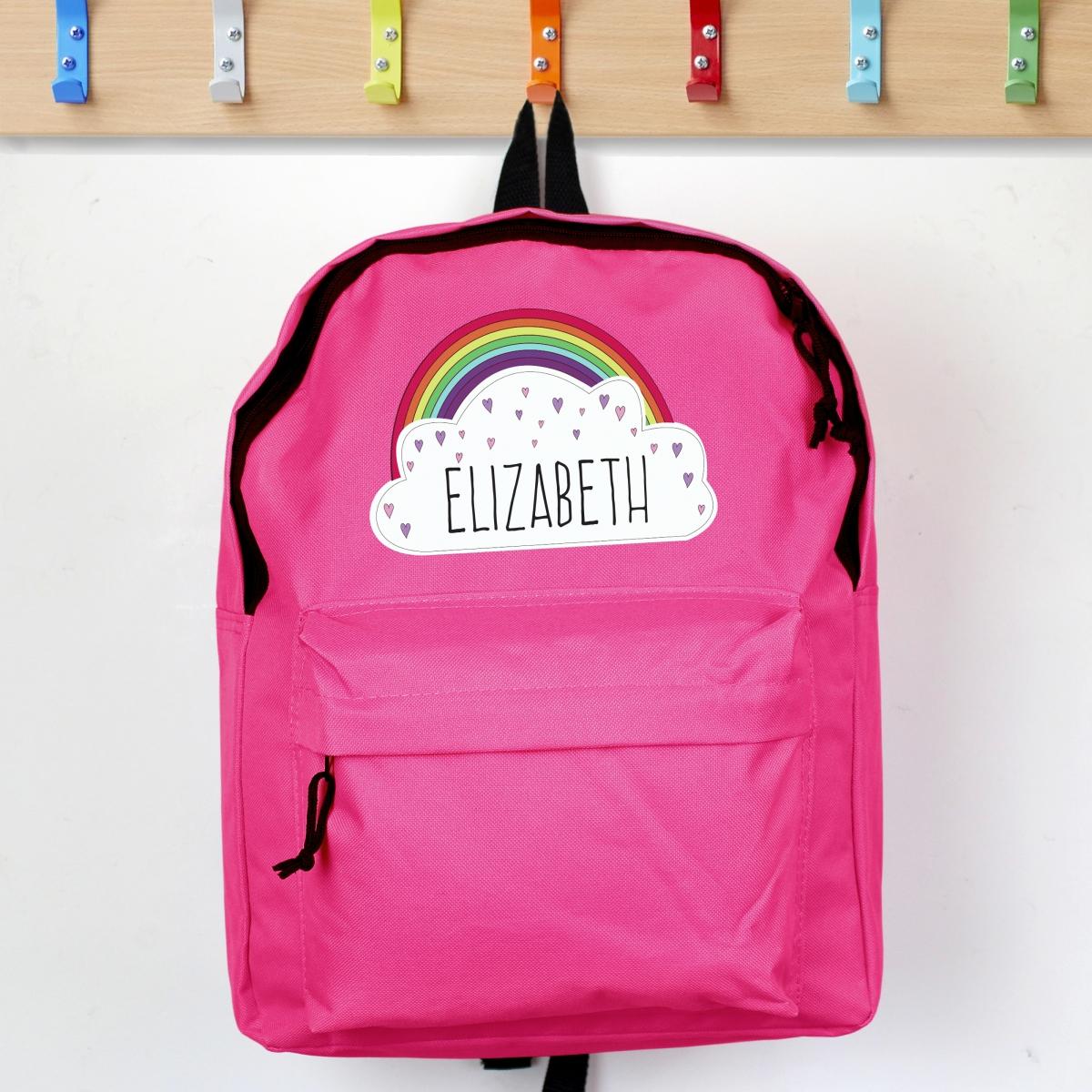Personalised Rainbow & Cloud Pink Backpack