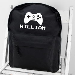 Personalised Black Backpack with Gaming Icon