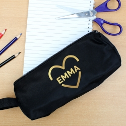 Personalised Black Pencil Case with Gold Heart