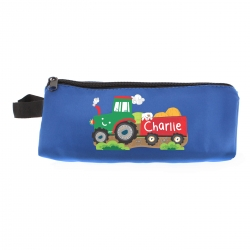 Personalised 'Tractor' Blue Pencil Case