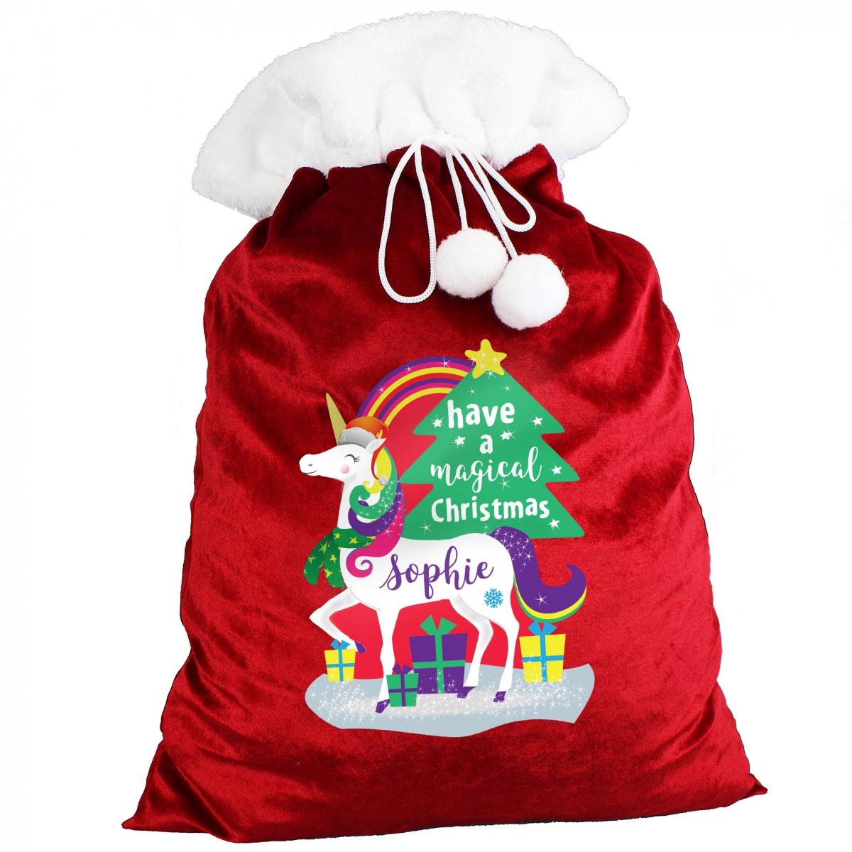 Personalised Unicorn Multicoloured Pom Pom Christmas Sack