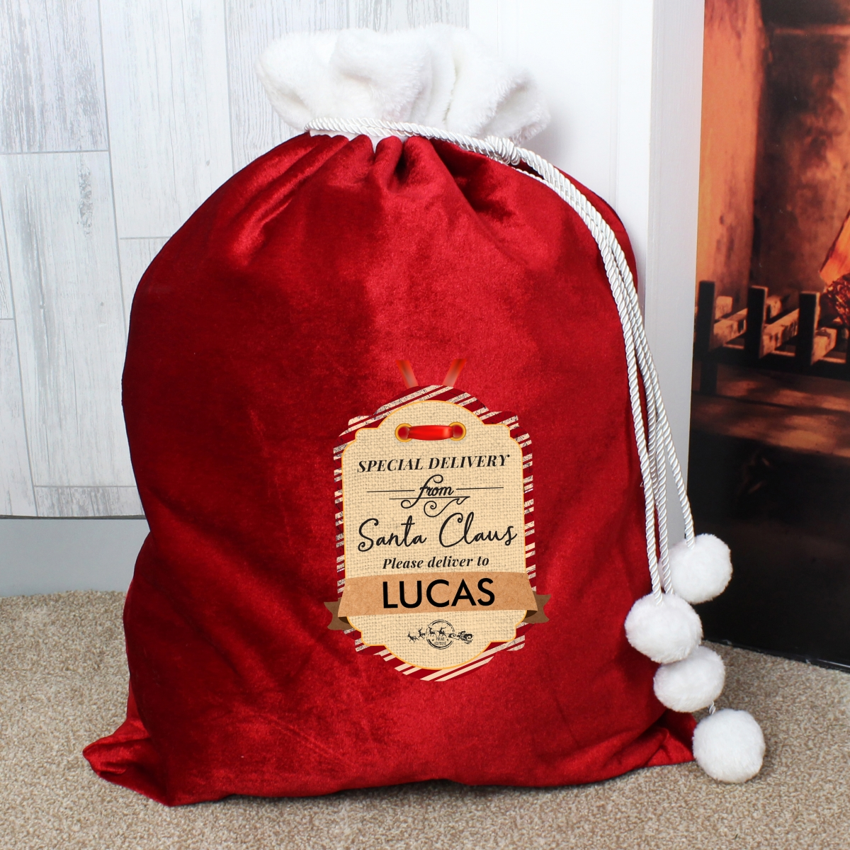 Personalised Special Delivery Luxury Christmas Pom Pom Sack