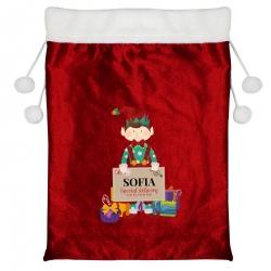 Personalised Christmas Elf Multicoloured Christmas Pom Pom Sack