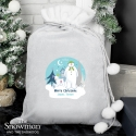 Personalised The Snowman and the Snowdog Luxury Silver Grey Pom Pom Sack