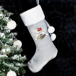 Personalised 'Rocking Horse' Luxury Silver Grey Stocking