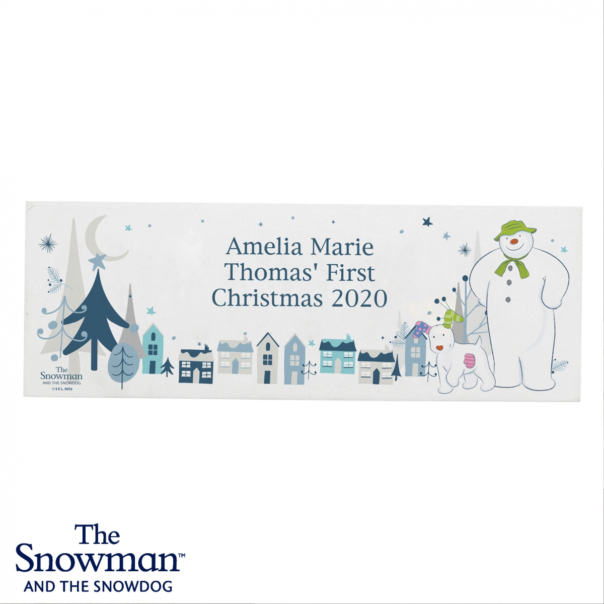 Personalised The Snowman and the Snowdog Wooden Block Sign