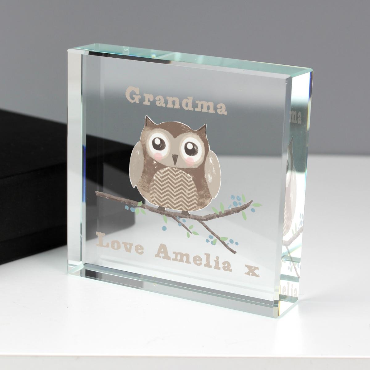 Personalised Woodland Owl Large Crystal Token