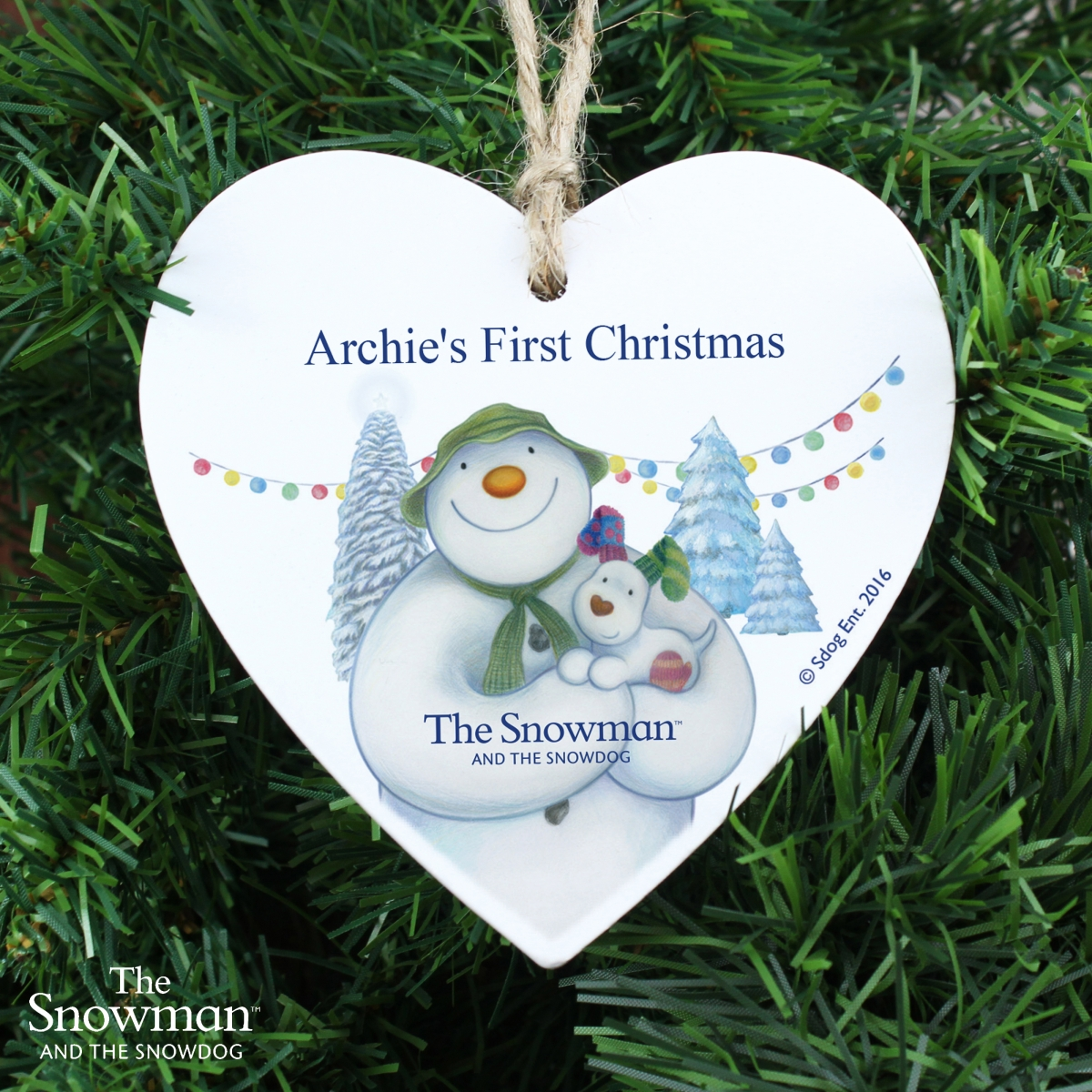 Personalised The Snowman and The Snowdog Wooden Heart Decoration Keepsake