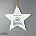 Personalised The Snowman and the Snowdog Wooden Star Decoration Keepsake