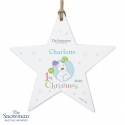 Personalised The Snowman and the Snowdog My 1st Christmas Blue Wooden Star Decoration & Keepsake
