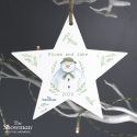Personalised The Snowman Winter Garden Wooden Star Decoration & Christmas Keepsake