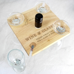 Personalised Any Text Four Wine Glass Holder & Bottle Butler