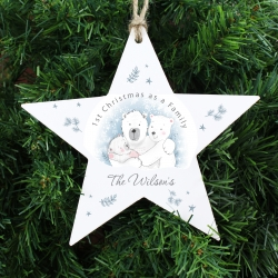 Personalised 1st Christmas as a Family Wooden Star Decoration
