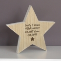 Personalised Star Motif Rustic Wooden Star Christmas Decoration & Keepsake
