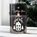 Personalised Christmas Smoked Glass LED Candle