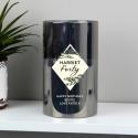 Personalised Festive Smoked Glass LED Candle