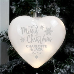 Personalised Merry Christmas LED Hanging Glass Heart
