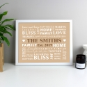 Personalised Family Typography White Framed Poster Print