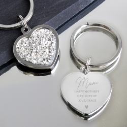 Personalised Name and Message Diamante Heart Keyring