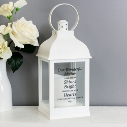 Personalised 'Your Light Shines Bright' White Lantern