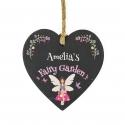 Personalised Fairy Garden Slate Heart Decoration